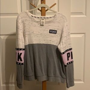 a PINK multicolored long sleeve